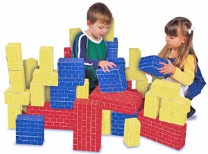 Image: Melissa + Doug Deluxe Jumbo Cardboard Blocks (40 pc) - Made of premium, extra-thick cardboard - red blocks hold up to 150 pounds!