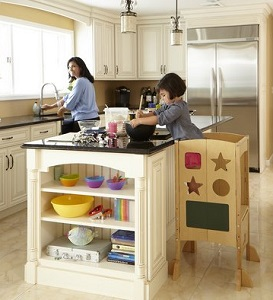 Image: Kitchen Helper by Guidecraft - safely and securely elevates children to countertop height