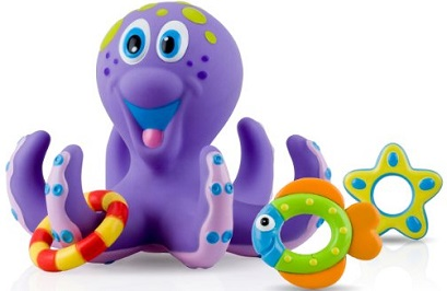 Image: Nuby Bathtime Fun Bath Toys, Octopus Hoopla | Helps develop hand-eye coordination