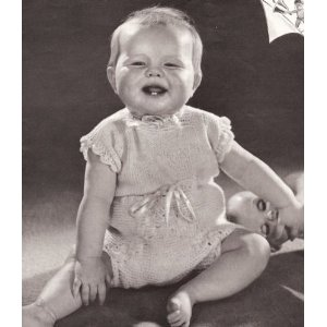 Image: Vintage Knitting PATTERN to make - Knitted Baby Under Shirt Soaker Diaper Set